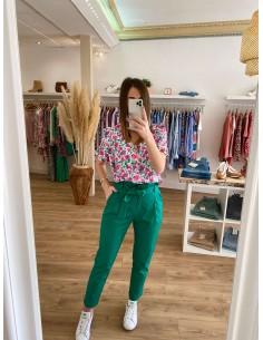 Pantalon carotte vert...